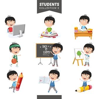 Ilustración vectorial de la colección de estudiantes