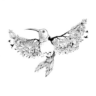 Ilustración vectorial colibrí con flores