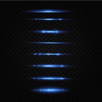 Ilustración vectorial de un color azul efecto de luz rayos láser abstractos de luz rayos de neón caóticos