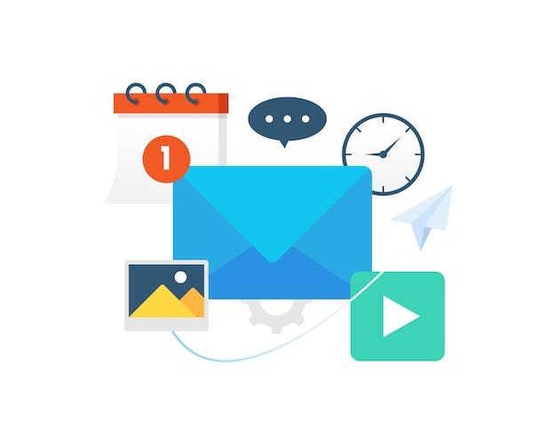 Ilustración vectorial comunicación con correo electrónico