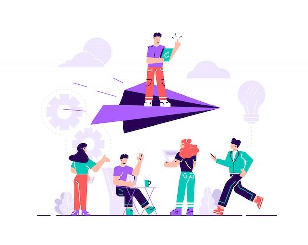 Ilustración vectorial, concepto de alcanzar la meta, un hombre se levanta en un avión de papel, la gente de abajo lo apoya y se alegra.