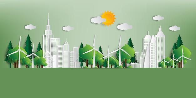 Ilustración vectorial concepto ecológico, ciudad verde salva el mundo,
