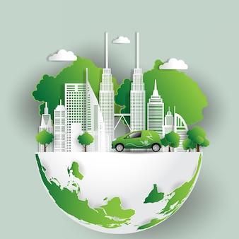 Ilustración vectorial concepto ecológico, ciudad verde salva el mundo