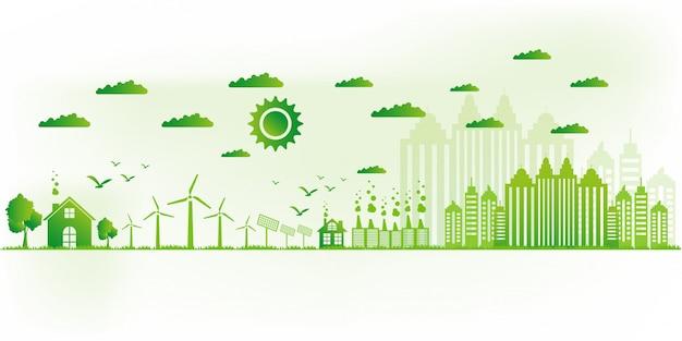 Ilustracion vectorial concepto ecológico, ciudad verde salva el mundo.