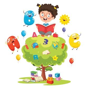Ilustración vectorial del concepto de educación de los niños