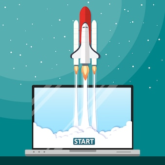 Ilustración vectorial concepto lanzamiento de cohete