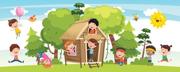 Ilustración vectorial del concepto de la naturaleza de los niños