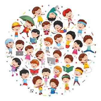 Ilustración vectorial del concepto de los niños de dibujos animados