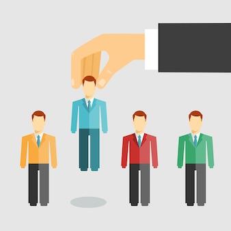 Ilustración vectorial conceptual de la gestión de recursos humanos con un empresario seleccionando un candidato de los solicitantes de empleo para la contratación de promoción o despido