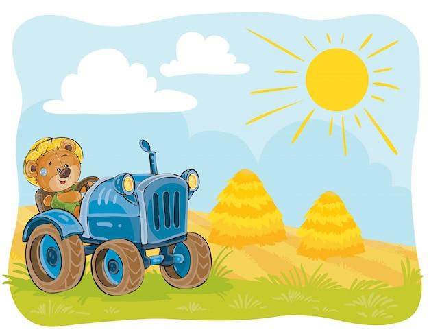Ilustración vectorial de un conductor de tractor de oso de peluche.