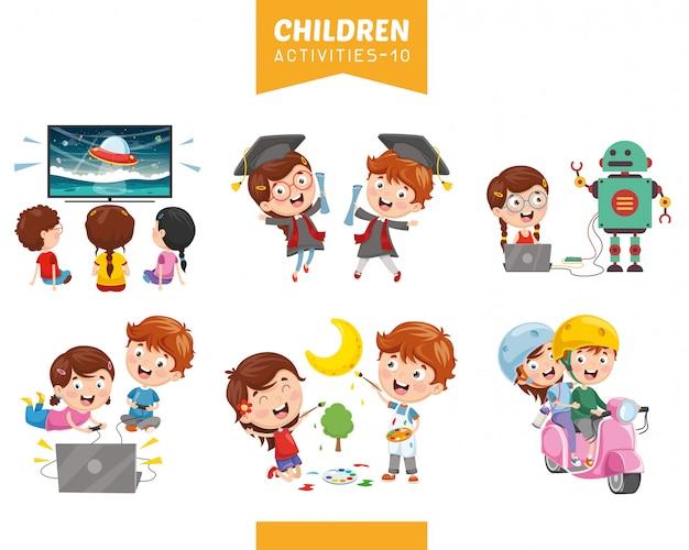 Ilustración vectorial de conjunto de actividades para niños