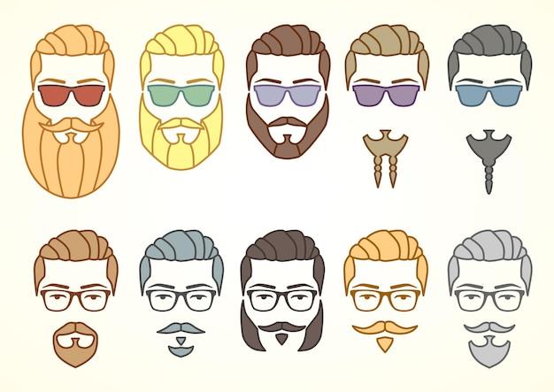 Ilustración vectorial. conjunto de cara hipster con bigotes y barbas.