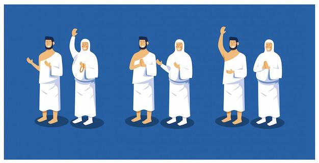 Ilustración vectorial del conjunto de caracteres de peregrinación islámica hajj hombre y mujeres