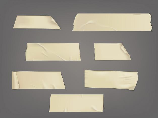 Ilustración vectorial conjunto de diferentes rodajas de una cinta adhesiva con sombra y arrugas