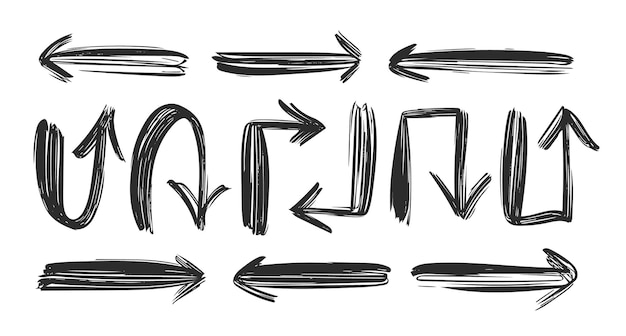 Ilustración vectorial: conjunto de flechas negras dibujadas a mano.