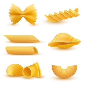 Ilustración vectorial conjunto de iconos realistas de macarrones secos, pastas de diversos tipos