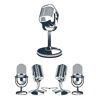 Ilustración vectorial de conjunto de micrófono retro