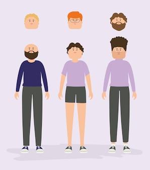 Ilustración vectorial conjunto de personajes de avatar masculino en estilo plano.