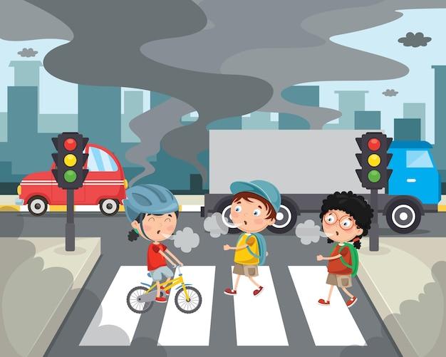 Ilustración vectorial de la contaminación del aire