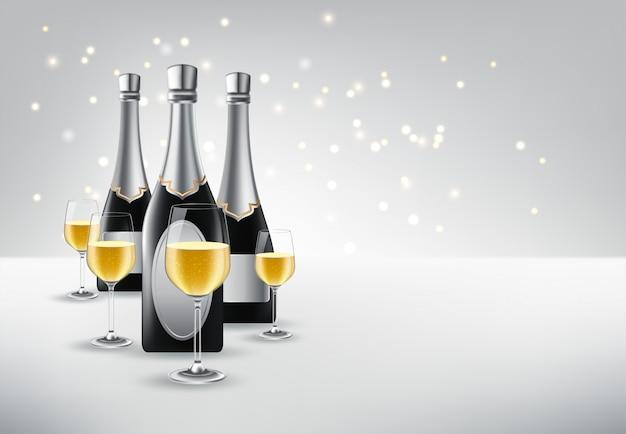 Ilustración vectorial de copa de vino con una botella de champán
