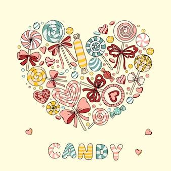 Ilustración vectorial de corazón con caramelos y paletas.