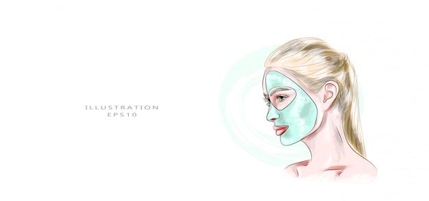 Ilustración vectorial cosmetología y cuidado facial de la piel.