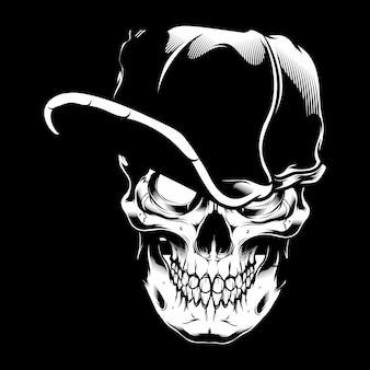 Ilustración vectorial cráneo con gorra