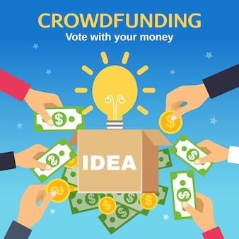 Ilustración vectorial de crowdfunding