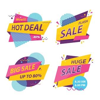 Ilustración vectorial de conjunto de insignia de venta de descuento.
