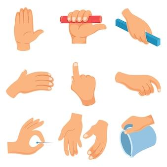 Ilustración vectorial de gestos con las manos