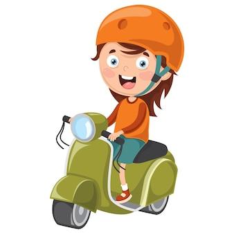 Ilustración vectorial de kid riding motorcycle