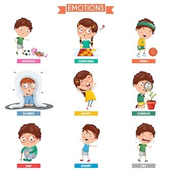 Ilustración vectorial de las emociones del niño