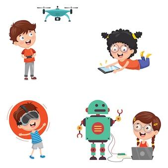 Ilustración vectorial de tecnología para niños