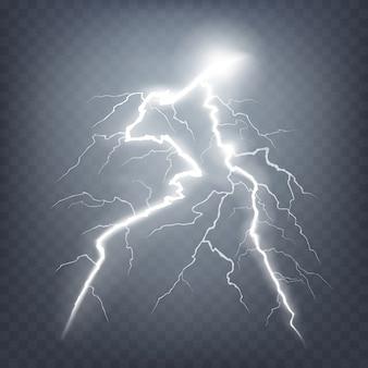 Ilustración vectorial de un estilo realista de relámpago brillante brillante aislado en un efecto de luz oscura, natural.