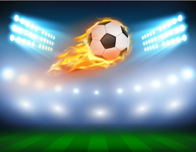 Ilustración vectorial de un fútbol en una llama ardiente.