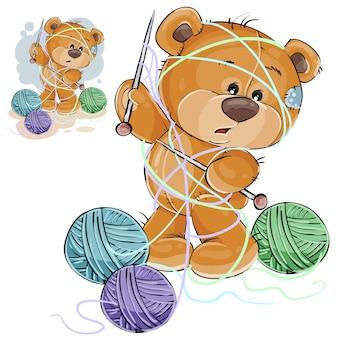 Ilustración vectorial de un oso de peluche marrón que sostiene una aguja de tejer en su pata y enredado en hilos