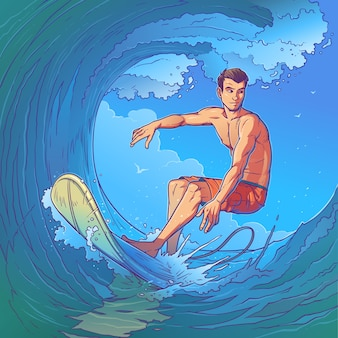 Ilustración vectorial de un surfista