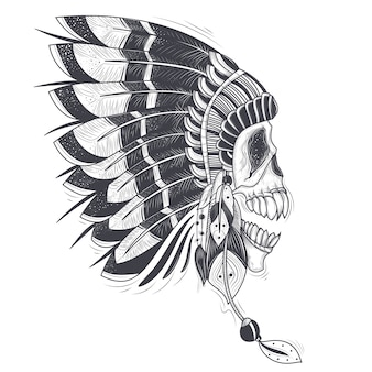 Ilustración vectorial de una plantilla para un tatuaje con un cráneo humano en un sombrero de plumas de la india.