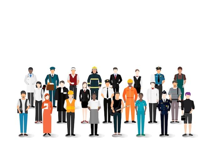 Ilustración vectorial de varias carreras y profesiones