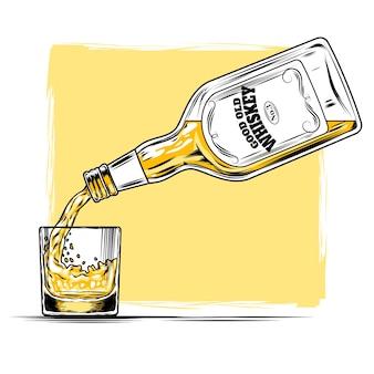 Ilustración vectorial de whisky y vidrio
