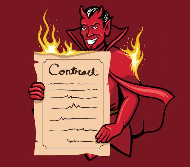 Ilustración vectorial de diablo ofreciendo un contrato.