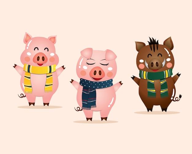 Ilustración vectorial de dibujos animados de cerdos lindos