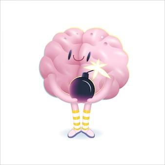 Una ilustración vectorial de dibujos animados de un cerebro con calcetines a rayas hasta la rodilla