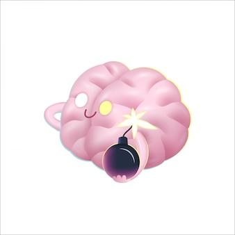Una ilustración vectorial de dibujos animados de un cerebro sosteniendo la bomba en sus manos