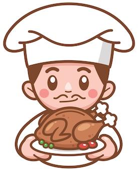 Ilustración vectorial de dibujos animados chef presentando comida