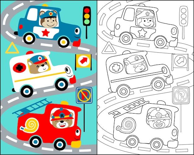 Ilustración vectorial con dibujos animados del equipo de rescate