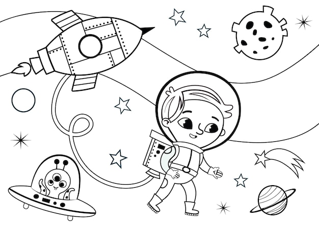 Ilustración vectorial de dibujos animados del espacio y el pequeño astronauta actividad de la página para colorear para niños