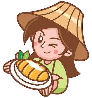Ilustración vectorial de dibujos animados femenina presentando arroz pegajoso mango