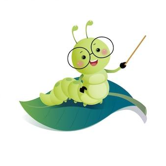 Ilustración vectorial de dibujos animados inteligente maestro de oruga con gafas y sosteniendo el puntero