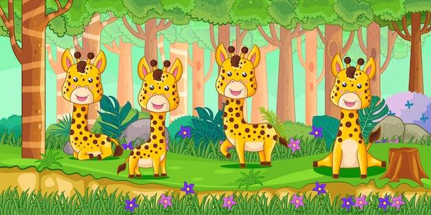 Ilustración vectorial de dibujos animados jirafas en la selva